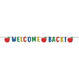 Welcome Back Ribbon Banner w/ Glitter Paper Letters