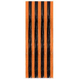 """Orange/Black Door Curtain - Plastic -8' x 36"""""""