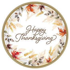 """Classic Thanksgiving Round Plates 7"""", 60ct"""
