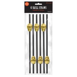 Skull Reusable Plastic Straws-6ct