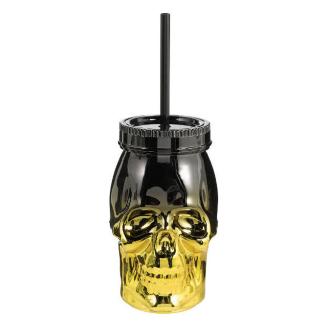 Skull Cup w/ Straw - Gold & Black -16oz