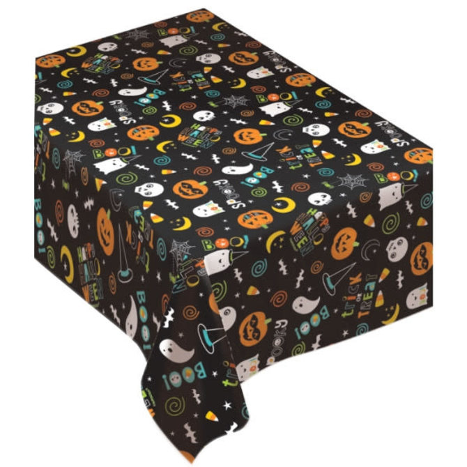 Hallo-ween Friends Flannel Backed Table Cover
