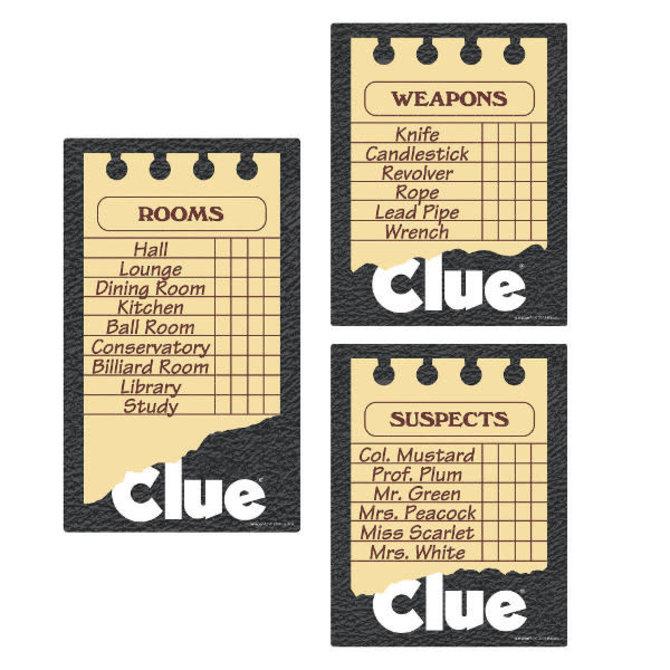 Clue® Game Sheet Cutouts -3ct