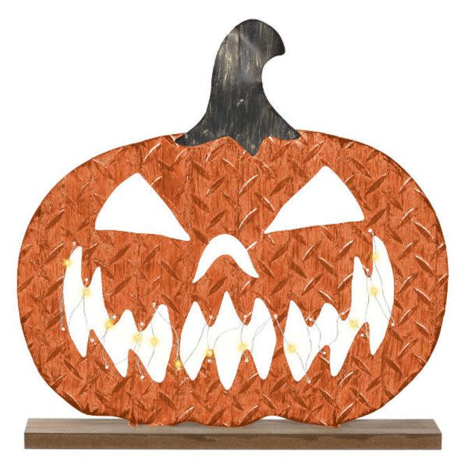 """Pumpkin Standing Sign - Light Up -15"""" x 15"""" Galvanized Metal w/ lights"""