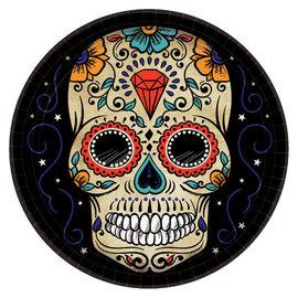 "Sugar Skull Round Plates, 10 1/2"" -18ct"