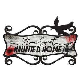 "Home Sweet Haunted Home Sign -14"" x 23"" MDF w/ metal"
