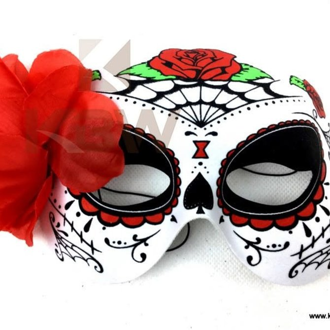 Day of the Dead Half Mask w/Flower