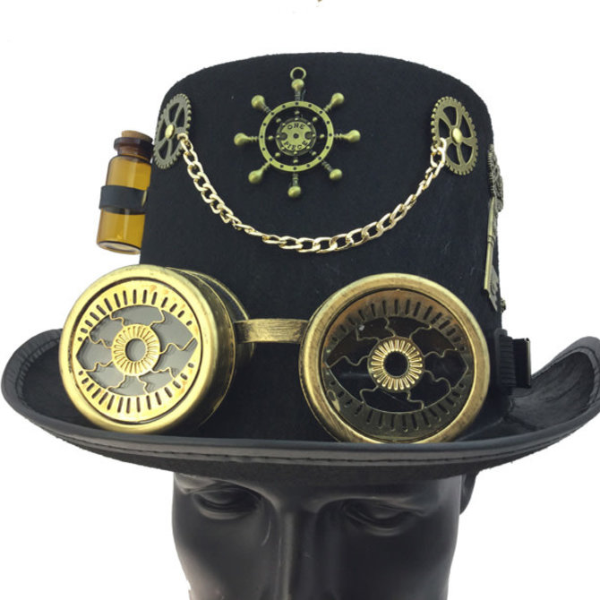 Steampunk Top Hat w/Goggles and Accessories
