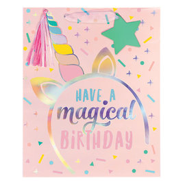 Unicorn Birthday Large Bag w/Gift Tag