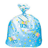 Jumbo Plastic Blue Polka Dot Boy Baby Shower Gift Bag