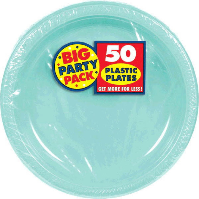 """Robin's Egg Blue Big Party Pack Plastic Plates, 10 1/4"""" 50ct"""