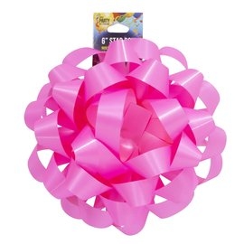 """6"""" Star Bow Neon Pink"""