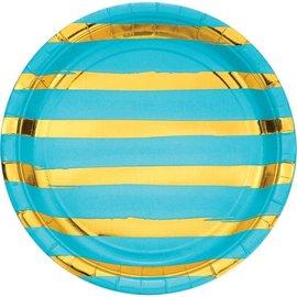 """Bermuda Blue Round Foil Plate- 9"""", 8ct"""