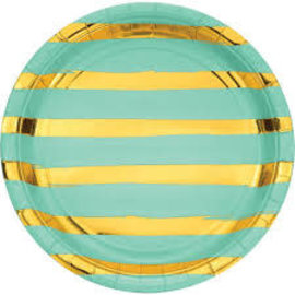 "Fresh Mint Foil Round Plate -9"", 8ct"