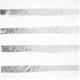 White & Silver Foil Stamp Lunch Napkins, 16ct