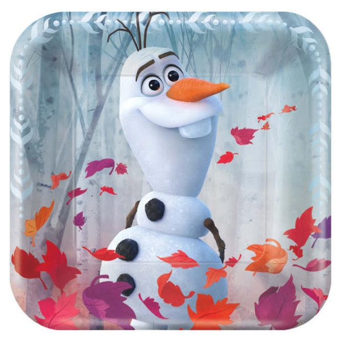 """©Disney Frozen 2 Square Paper Plates, 7""""- 8ct"""