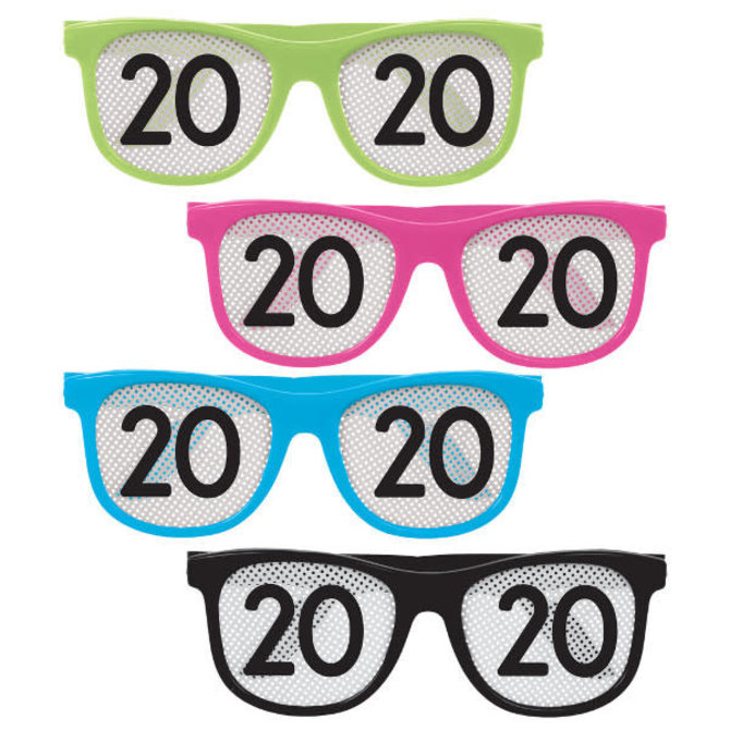2020 New Year's Printed Glasses - Neon -8ct