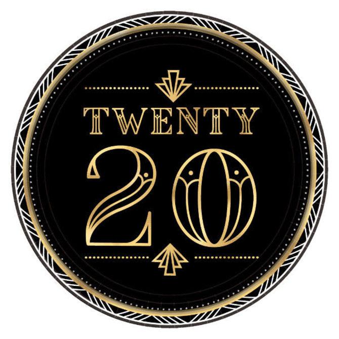 "2020 Roaring New Year's Eve Metallic Round Plates, 7""- 8ct"