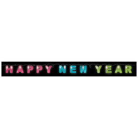 Happy New Year LED String Lights- Total Length, 4 1/2', lighted length, 3 1/4' w/ 12 lights