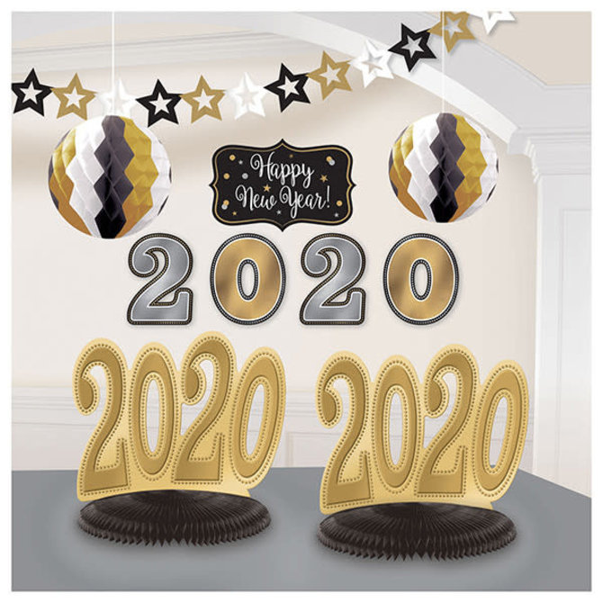 2020 New Year's Room Decorating Kit - Black, Silver, Gold - 10ct