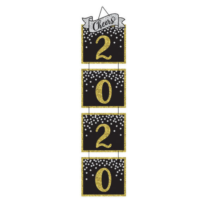 """2020 New Year's Jumbo Hanging Decoration - Black, Silver, Gold - 64 3/5"""" x 15 2/5"""" Heavy Paper Board w/ glitter and ribbon hanger"""