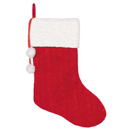"""Deluxe Cable Knit Red Stocking- 18"""""""