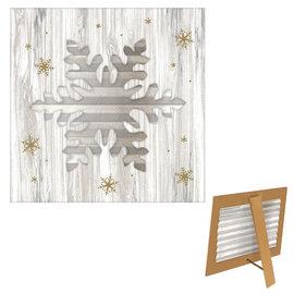 "Large Snowflake Easel- 8 1/2"" H x 8 1/2"" W MDF & Galvanized Metal"