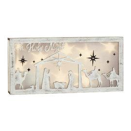 "Nativity Light-Up Shadowbox- 5 1/2"" x 11 4/5"" Wood w/ lights"