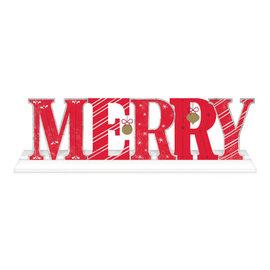 """Merry Deluxe Standing Sign- 6"""" x 21"""" MDF w/ metal"""