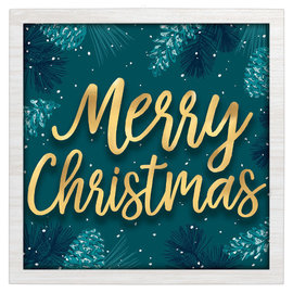 """Teal And Blue Merry Christmas Hanging Sign- 12"""" x 12"""" MDF w/ decal, metal cutouts and hanging loop"""
