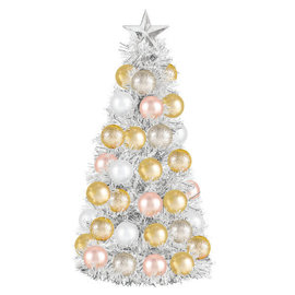 """Metallic Bulb Tree - Silver, Rose Gold And Gold- 12"""" x 6"""" Foil tinsel and plastic"""