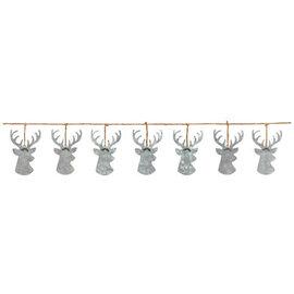"""Reindeer Metal Banner- 6' x 6 1/3"""" Galvanized metal & rope"""