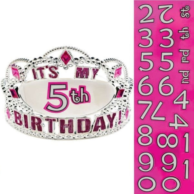 Customized Happy Birthday Tiara-Pink