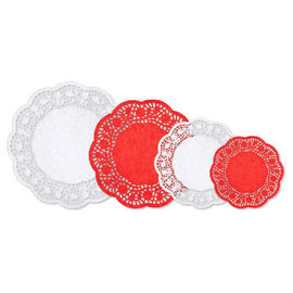 Multipack Doilies - Red & White Paper, 40ct