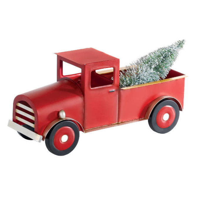 "3D Standing Truck w/ Tree- 5 3/4"" x 12"" Metal w/ bottle brush tree"