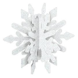 """3D Glitter Snowflake Decoration, White- 7 4/5"""" x 9"""""""