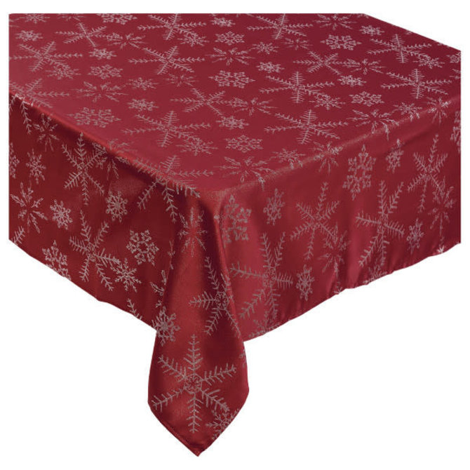 "Luxury Snowflake Table Cover, Red, 60"" x 104"""