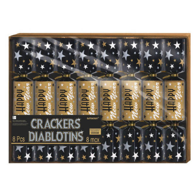 New Year's Printed Paper Crackers - Black, Silver & Gold -8ct