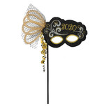 2020 Mask On a Stick - Black, Silver, Gold