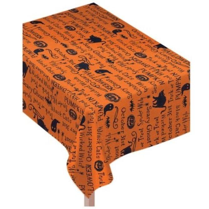 Metallic Halloween Fabric Tablecloth