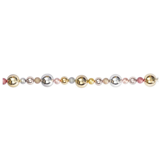 Metallic Bulb Garland - Silver, Rose Gold And Gold- 6'