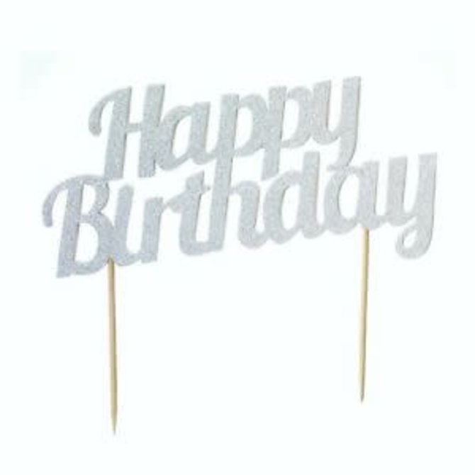 Happy Birthday Cake Topper- SIlver