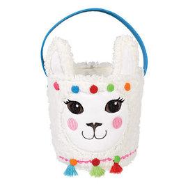 "Llama Easter Basket- 7"" x 6"" Dia. Plush"