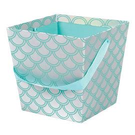 """Tall Bucket - Mermaid -7 3/5""""H x 7 4/5""""W x 7 4/5""""D Iridescent Paperboard"""