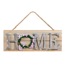 """Home Hanging Sign- 4 3/4"""" x 13"""" Wood w/ metal and rope hanger"""