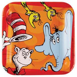 """Dr. Seuss 9"""" Square Paper Plates, 8ct"""