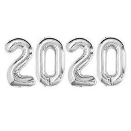 """Air-Filled 2020 Silver Foil Balloons, 16"""""""