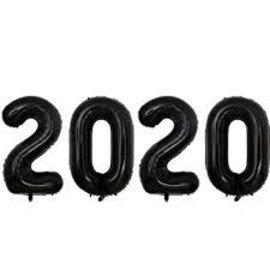 "Air-Filled 2020 Black Foil Balloons, 16"""
