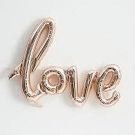 "Foil Balloon Script Phrase ""Love""- Rose Gold"