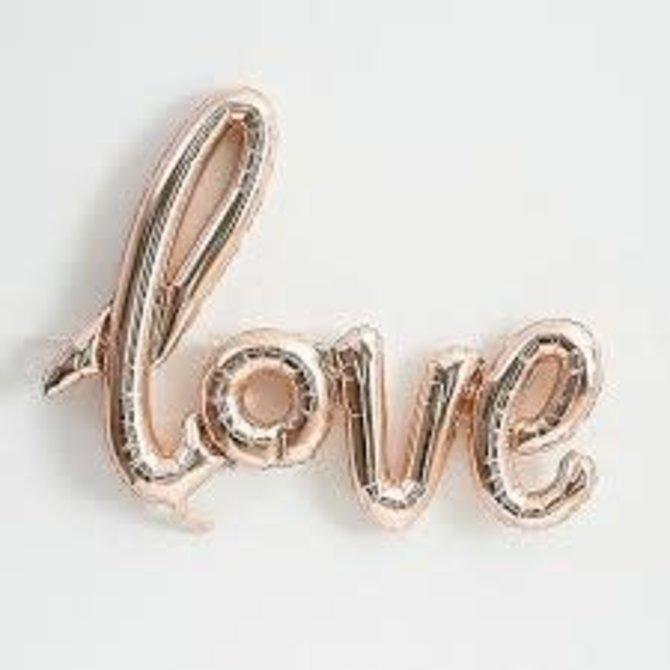 "Foil Balloon Script Phrase ""Love""- Rose Gold"